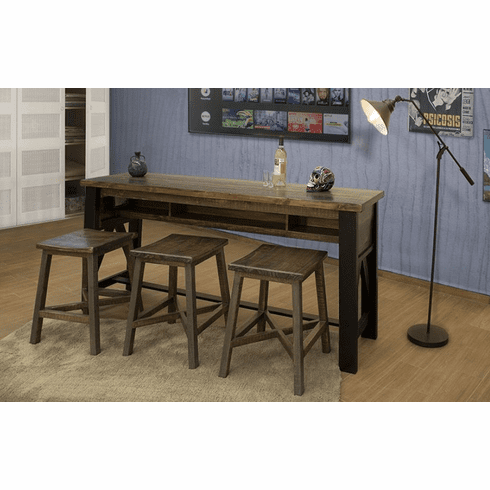 Aspen Rustic Counter Height Sofa Table With Stools Set