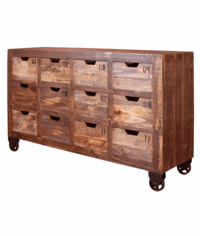 Aspen Rustic Multi-Color Console W/ 12 Drawers