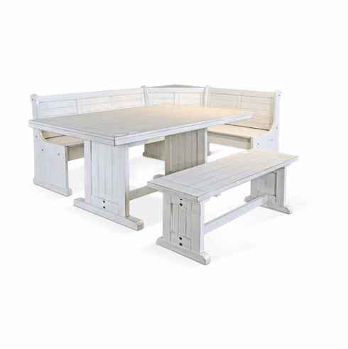 Cancun White Corner Breakfast Nook set
