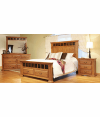 Cantera Rustic Oak Bedroom Furniture 4 Piece Set