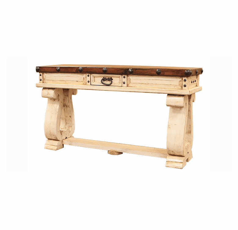Colonial White Rustic Console Table