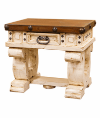 Colonial White Rustic End Table