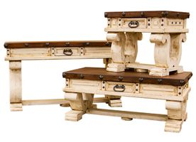 Colonial White Rustic Occasional Table Set