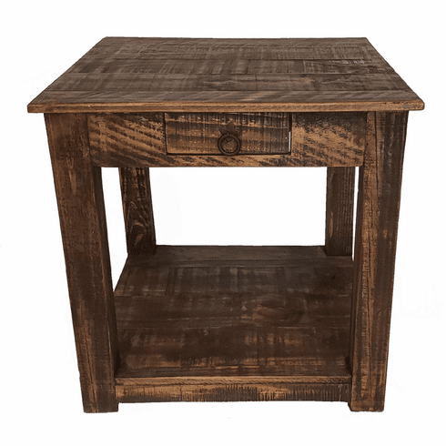 Corona Rustic Distressed Wood End Table