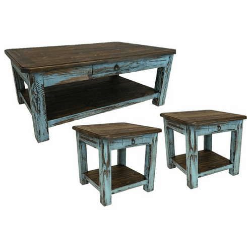 Corona Turquoise Coffee and End Table Set