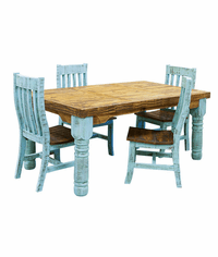 Corona Turquoise Dining Table Set W/ 6 Chairs