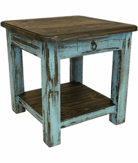 Corona Wood Turquoise End Table