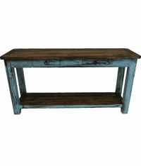 Corona Wood Turquoise Sofa Table
