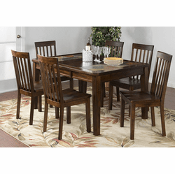 Durango Slate Top Dining Table Set W/ 6 Chairs