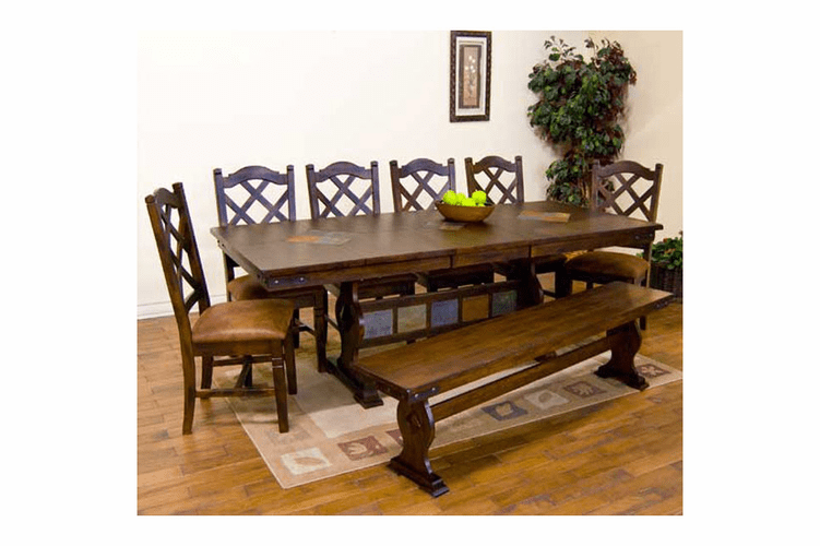 Durango Trestle Dining Table Set W/ Crossback Chairs