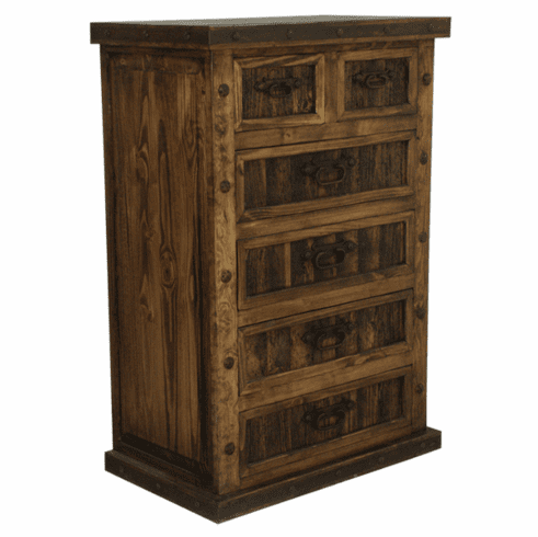 Rustic Chest W Iron Wood 6 Drawer