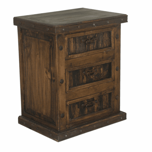 Rustic Night Stand W/ Iron, Wood Night Stand, 3 Drawer Night ...