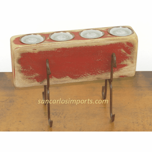 Four Hole Sugar Mold Candle Holder Red
