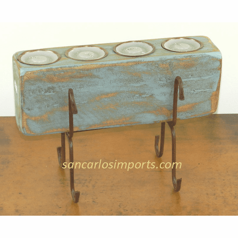 Four Hole Sugar Mold Candle Holder Turquoise