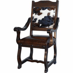 Granada Rustic Cowhide Dining Arm Chair