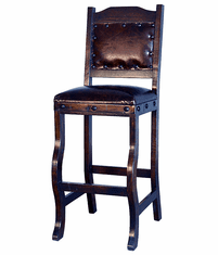 Granada Rustic Leather Bar Stool with Back