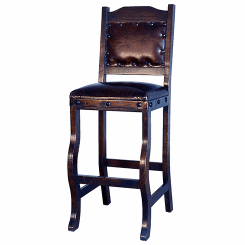 Granada Rustic Leather Counter Stool with Back