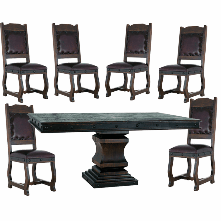 Granada Rustic Pedestal Dining Table Set