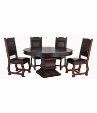 Granada Rustic Round Pedestal Dining Table Set W/ 4 Chairs