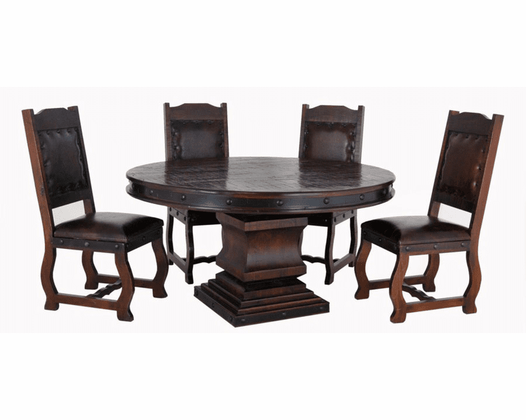 Espresso Round Table, Round Pedestal Dining Table Set