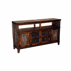 "Hacienda 60"" Dark Rustic TV Stand w/ Painted Reclaimed Wood"