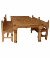 Hacienda Rustic Dining Table Set w/ Benches