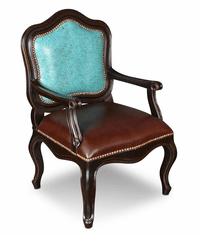 Hacienda Rustic Living Room Accent Chair Turquoise