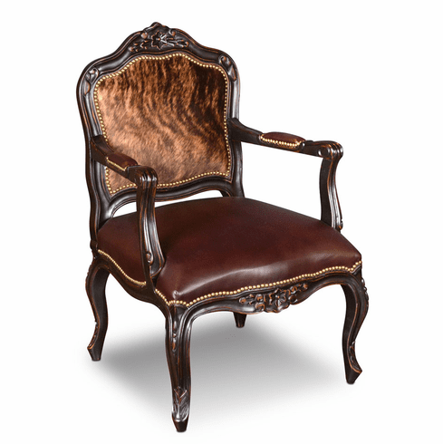 Hacienda Rustic Living Room Accent Chair W/ Cowhide