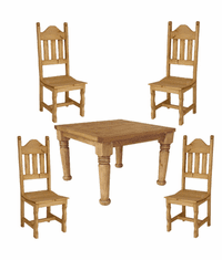 Hacienda Rustic Square Dining Table & Chair Set