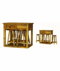 Kitchen Island Rustic Table w/ Bar Stools
