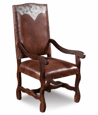 Laredo Leather Arm Dining Chair W/ Cowhide