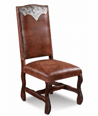 Laredo Leather Dining Chair W/ Cowhide