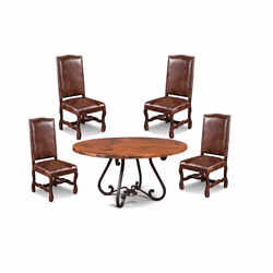 Laredo Round Copper Dining Table Set