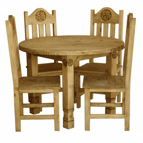 Round Rustic Dining Table Set And Pine Round Dining Table