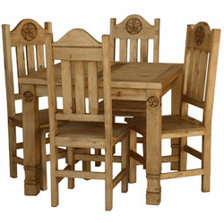 Laredo Rustic Square Star Dining Table Set