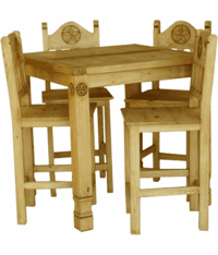 Laredo Rustic Square Star Gathering Dining Table Set