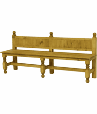 Lyon Church Pine Bench W/ Back
