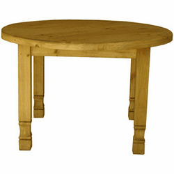 Lyon Round Rustic Pine Dining Table
