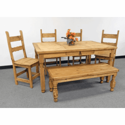 Lyon Rustic Dining Table Set W/ Bench