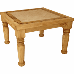 Lyon Square Marble Top Rustic Dining Table