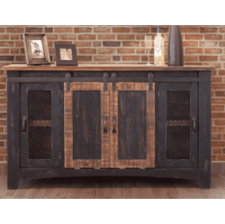 "Mendoza Black Rustic 60"" TV Stand W/ Barn Doors"