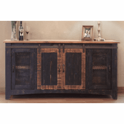 "Mendoza Black Rustic 70"" TV Stand W/ Barn Doors"