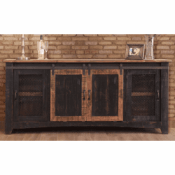 "Mendoza Black Rustic 79"" TV Stand W/ Barn Doors"