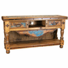 "Merida Copper Console Table w/ Turquoise Wash 60""L"