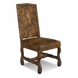 Merida Rustic Suede Dining Chair W/ Tapestry Fabric