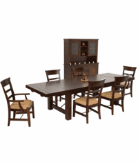 Modesto Rustic Mahogany Dining Table & China Cabinet Set