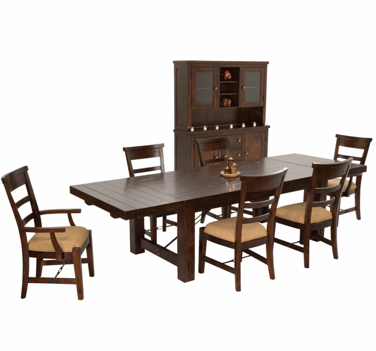 Rustic Mahogany Dining Table Set, Mahogany China Cabinet