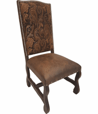 Monica Rustic Suede Dining Chair W/ Tapestry Fabric