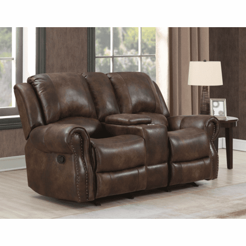 Navarro Rustic Manual Reclining Loveseat with Console