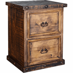 Old West Rustic 2 Drawer File Cabinet